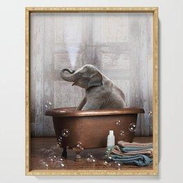 Elephant in Vintage Bathtub Serving Tray
