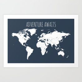 Adventure Awaits World Map in Navy Blue Art Print