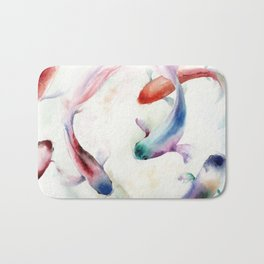 Colorful watercolor fish print Bath Mat