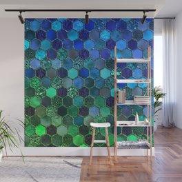 Blue & green geometric hexagonal elegant & luxury pattern Wall Mural