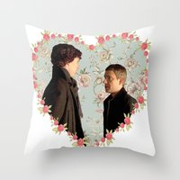 johnlock Throw Pillows featuring Hearted Johnlock by thescudders