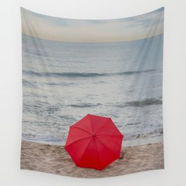 Red Umbrella lying at the beach III Wall Tapestry