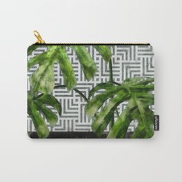 Monstera Leaves on Black Marble and Tiles Carry-All Pouch