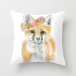 Fox Floral Watercolor Painting Throw Pillow