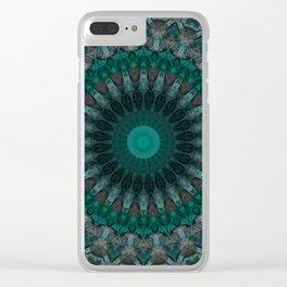 Mandala in malachite tones Clear iPhone Case