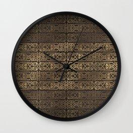 Golden Celtic Pattern on wooden texture Wall Clock