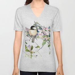 Chickadee and Dogwood Flowers Unisex V-Neck