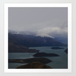 Mountain Series  Lake Wanaka Aerial Art Print