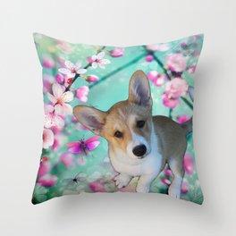cuty cute corgi puppy of the queen of england Elisabeth, spring blue pink flower power blossom Throw Pillow