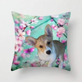cuty cute corgi puppy of the queen of england Elisabeth, spring blue pink flower power blossom Throw Pillow
