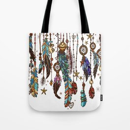 Feathers and crystals in aztec style Tote Bag