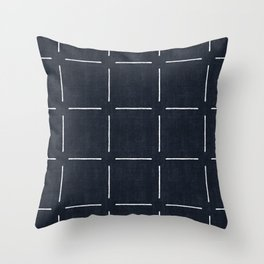 Block Print Simple Squares in Navy Throw Pillow