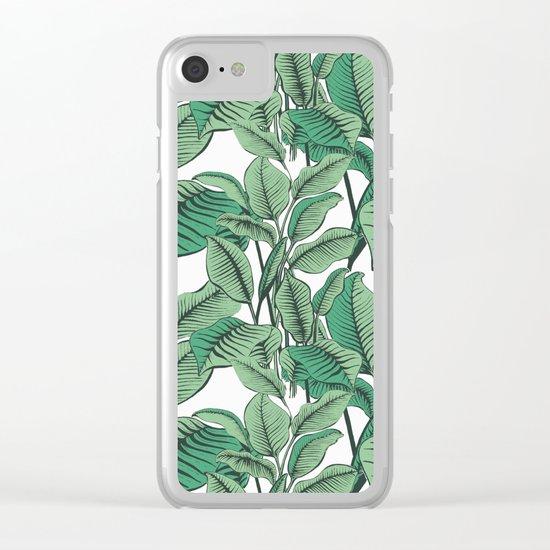 Exotic Tropical Banana Palm Leaf Print Clear iPhone Case