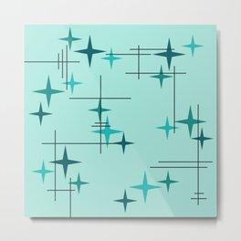 Mid Century Modern Stars Turquoise Metal Print