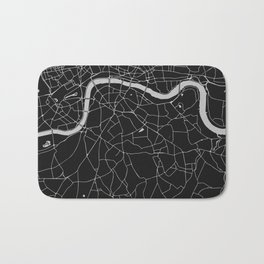 London Black on Gray Street Map Bath Mat