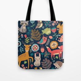 Blue Woodland Critters Pattern Tote Bag