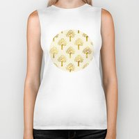 gold foil Biker Tanks featuring Cream Gold Foil 02 by Aloke Design