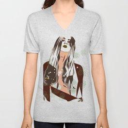 Sultry Disposition, Fashion Earth Tones Illustration Unisex V-Neck