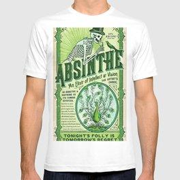 Vintage 1871 Absinthe Liquor Skeleton Elixir Aperitif Cocktail Alcohol Advertisement Poster T-shirt