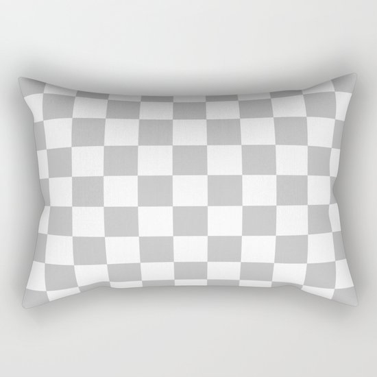 Checker (Silver/White) Rectangular Pillow