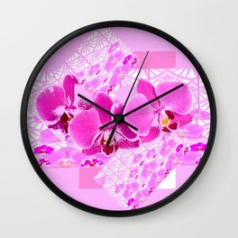 CERISE PINK ORCHID FLOWERS  WHITE PATTERN ABSTRACT Wall Clock