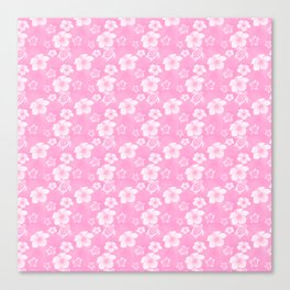 Soft Pink Hibiscus Turtle Hawaiian Pattern Canvas Print