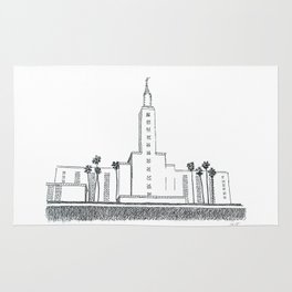 Los Angeles LDS Temple Ink Drawing Rug