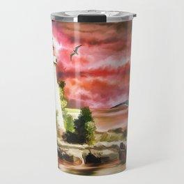Lighthouse During Sunset Travel Mug