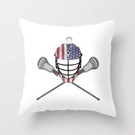 Lacrosse Helmet and Sticks, American Flag Lax Helmet T-Shirt Throw Pillow