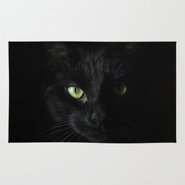 Black cat   Witchy cat   Green eyes   Cat love   Happy halloween Rug