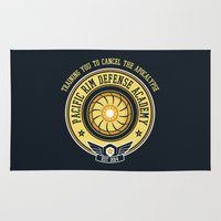 pacific rim Area & Throw Rugs featuring Pacific Rim Defense Academy by fishbiscuit