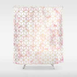 Geometric Gold Pattern on Pink Marble Shower Curtain