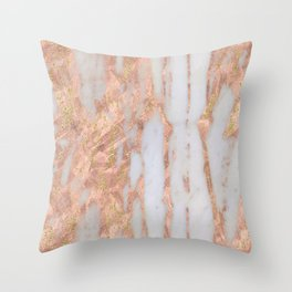 Pink Marble with Golden Lines Throw Pillow