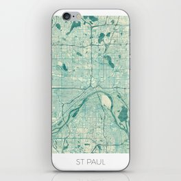 St Paul Map Blue Vintage iPhone Skin