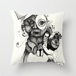 The Mad Hatter B&W Throw Pillow