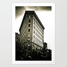 Asheville Building in Black and White Art Print