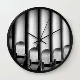 Organ pipes black and white photography Wall Clock