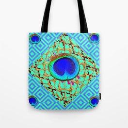 Blue Shades Abstract Modern Art Deco Pattern Art Tote Bag