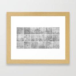Cafe sketches by David A Sutton. 18 piece horizontal. sketchbookexplorer.com Framed Art Print