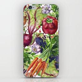 background of fresh vegetables watercolor illustration. iPhone Skin