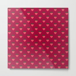 Strawberry Pink Love Hearts & Love Birds Metal Print