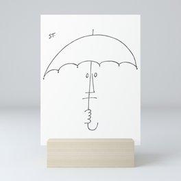 Saul Steinberg Man With Umbrella, American Cartoonist Artwork Reproduction for Prints Posters Tshirt Mini Art Print