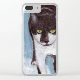 Cat in Snow Clear iPhone Case