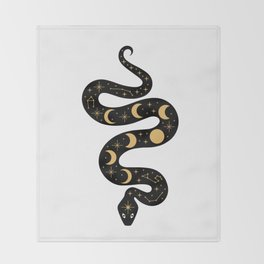 Moon Phases Constellation Snake Throw Blanket