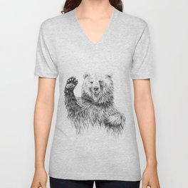 Waving Bear Unisex V-Neck