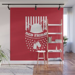 Red Friday American Flag Military Wall Mural