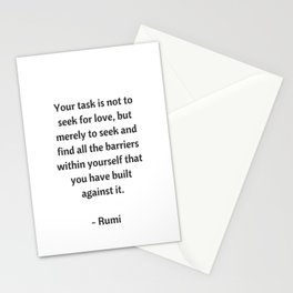 Rumi Inspirational Quotes - on love Stationery Cards