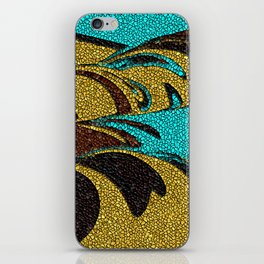 Aqua, Brown, and Gold Mosaic iPhone Skin