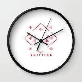 Eat Sleep Knitting Repeat Knit Work Needlework Needlecraft Handycraft Gift Wall Clock