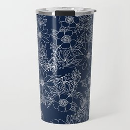 Artistic hand painted navy blue white modern floral Travel Mug